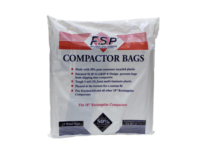 """W10165295RP Whirlpool W10165295RP 15"""" Plastic Compactor Bags (15 Pack)"""