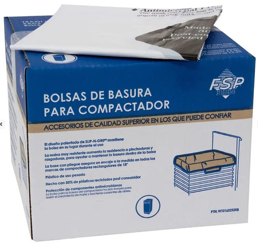 """W10165293RB Whirlpool W10165293RB 18"""" Plastic Compactor Bags (60 Pack)"""